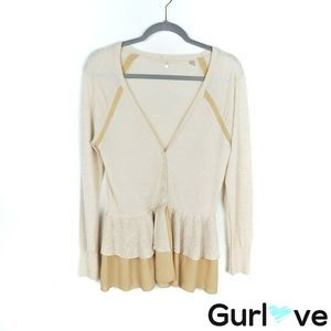 Anthro Knitted & Knotted M Cream Peplum Cardigan
